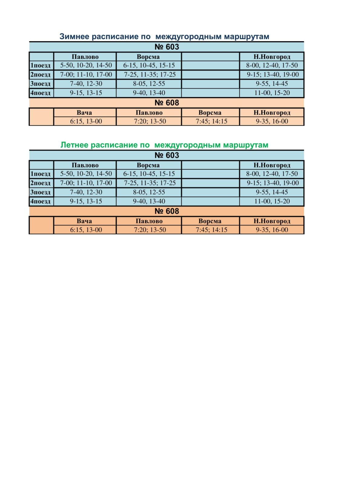 Расписание междугородных маршрутов г. Павлово
