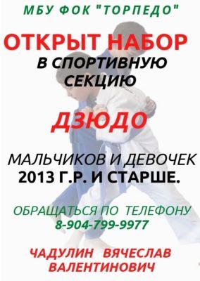 """Открыт набор в спортивную секцию """"Дзюдо"""" мальчиков и девочек 2013г. р. и старше."""