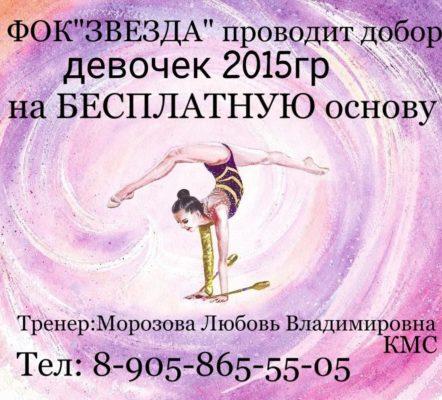 Добор девочек 2015г.р. в секцию гимнастика на бесплатной основе